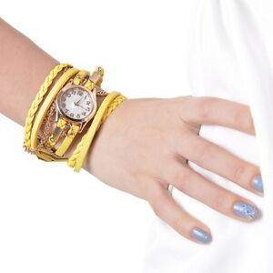 Damen-Madchen-PU-Lederarmbanduhr-Armbanduhr-Quarzuhr-Analogur-Kette-Anhanger