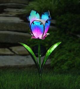 Glass-Solar-Powered-LED-Tulip-Flower-Stake-Light-Coloured-Garden-Outdoor-Patio