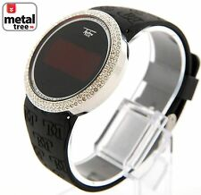 Hip Hop Touch Screen Digital Watch Techno Pave LED Silicone Band 7373 SLBK