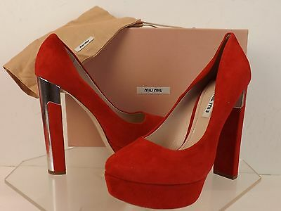 NIB MIU MIU PRADA RED SUEDE SILVER MIRROR HIGH HEEL PLATFORM PUMPS 38