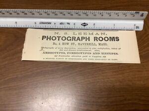 original removed 1869 ad: N S Leeman PHOTOGRAPH ROOMS; T Bullen SHOE FINDINGS ma