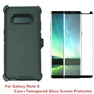 huge discount 4263b b23ec Details about For Samsung Galaxy Note 8 Defender Case Cover W/Screen (Clip  Fits Otterbox)BLACK