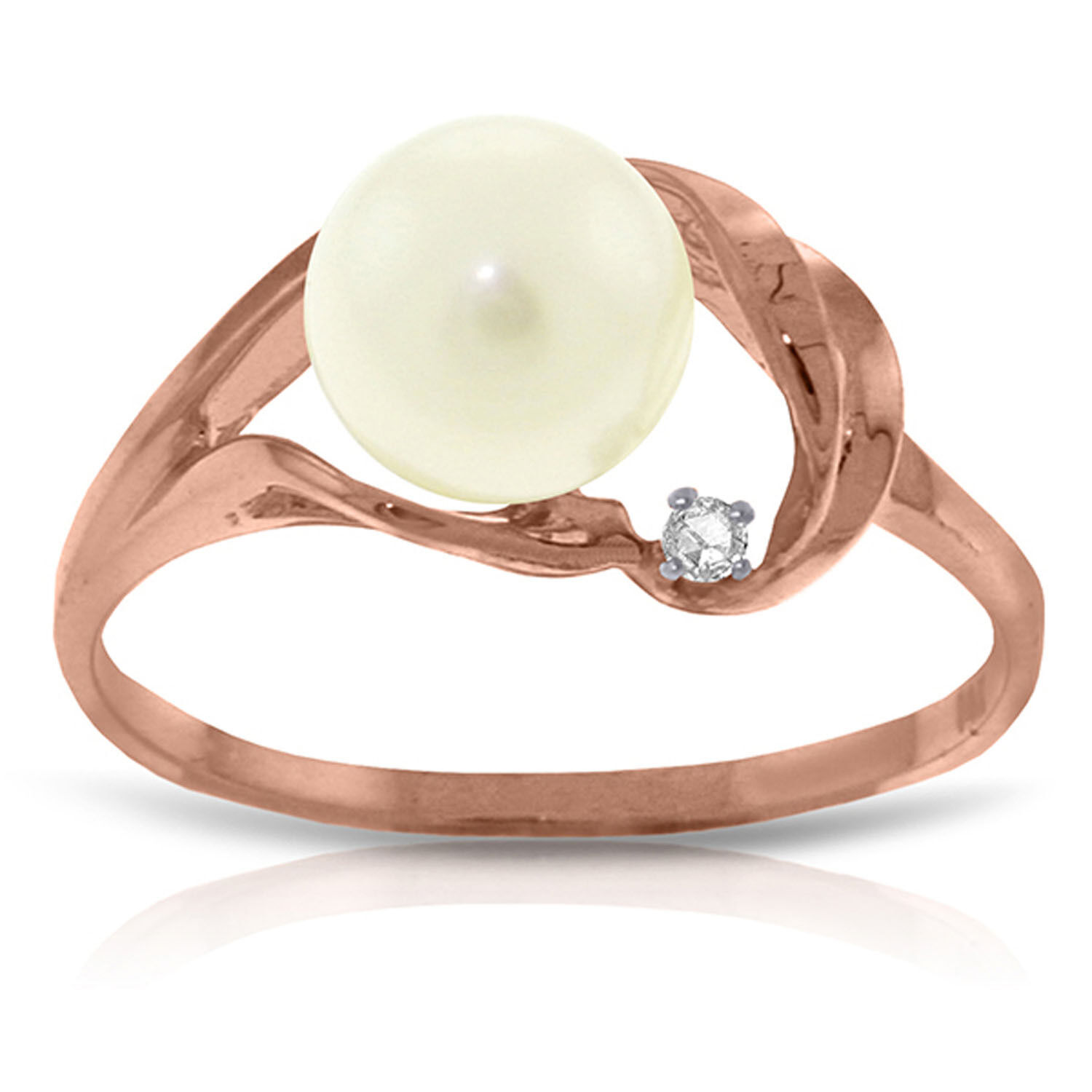 Brand New 14K Solid pink gold Ring w  Natural Diamond & pearl