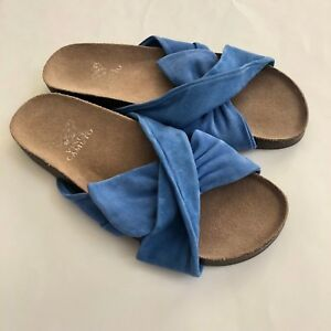da750fb75aca27 Vince Camuto Womens Slip On Sandals Cross Flat Slides Comfort Suede ...