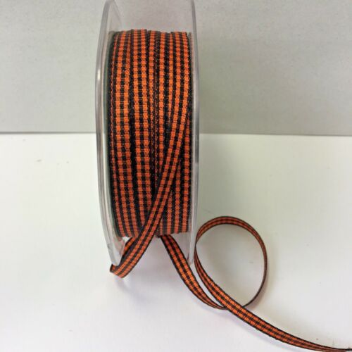 1//4 Inch Solid Checkered Ribbon 5 yards Orange /& Black KB38 May Arts