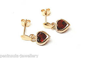 9ct-Gold-Garnet-Heart-Drop-Earrings-Gift-Boxed-Made-in-UK