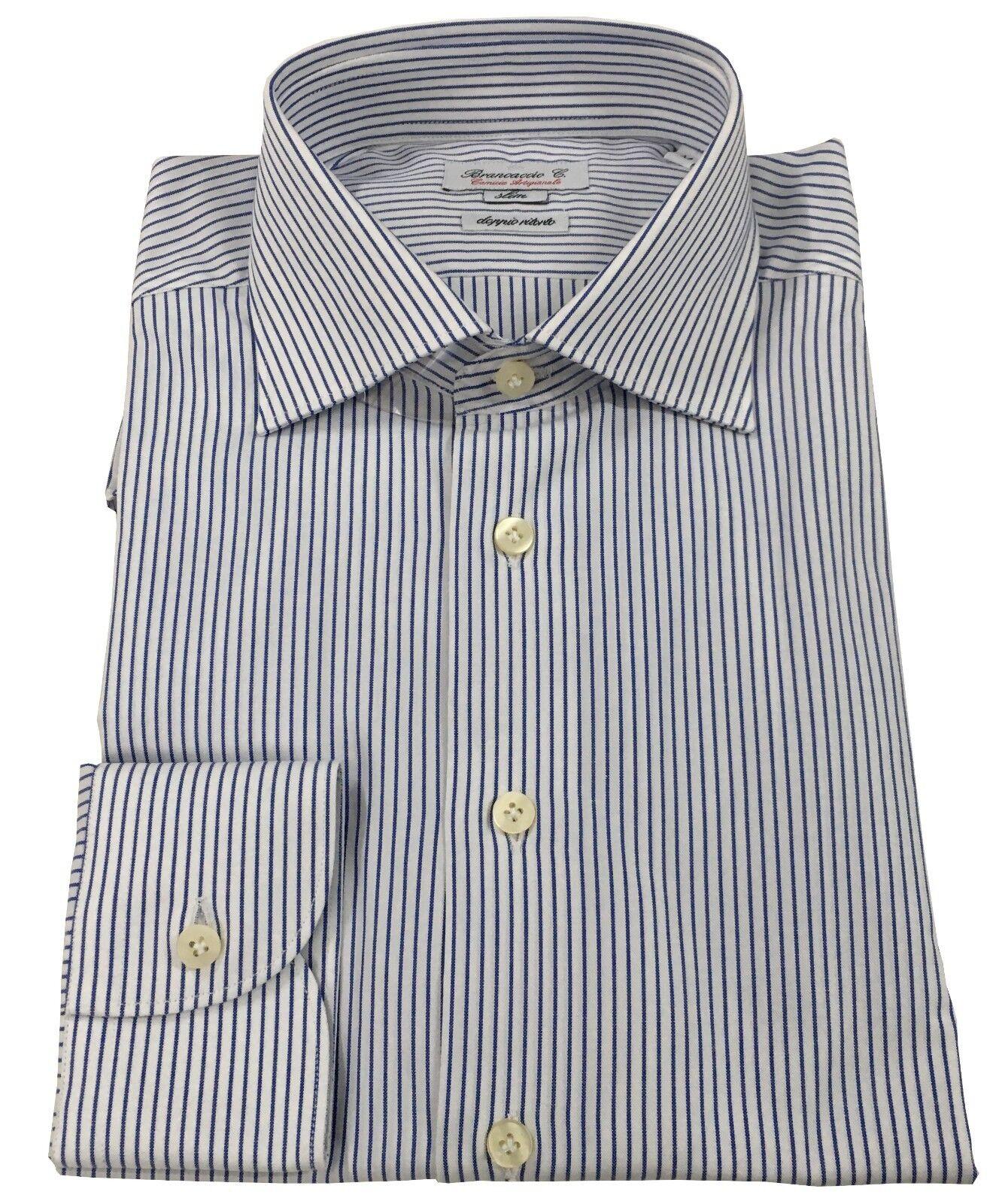 BRANCACCIO camicia uomo bianco blu 100 % cotone doppio ritorto vestibilità slim