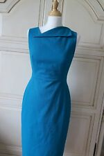 LK BENNETT BETTY JADE GREEN TURQUOISE STRETCH FITTED COTTON DRESS 10 IMMAC £195
