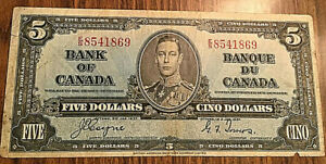 1937-CANADA-5-DOLLARS-BANK-NOTE-E-S-Coyne-Towers