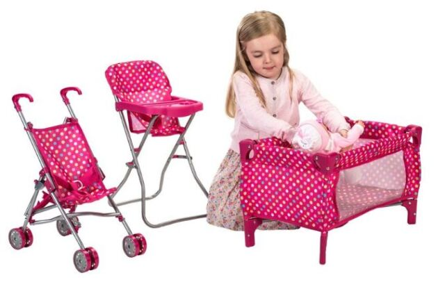 Baby Doll Nursery Playset Toy Cot Stroller High Chair Dolly Play Set Gift New