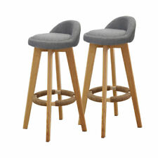 2x Levede Bar Stools Chairs Swivel Barstools Kitchen Wooden Fabric Stool Grey