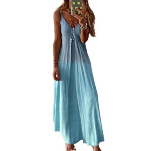 Damen Boho Sommerkleid Strandkleid Freizeit Lang Maxikleid Trägerkleid Übergröße