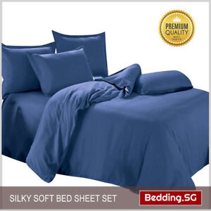 Bedsheet-Set-fitted-Navy-Blue-Queen-size-4-piece-set-Located-in-Singapore