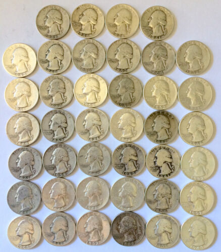 ROLL OF 90/%  SILVER WASHINGTON QUARTERS CIRCULATED 40 Coins