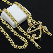 "Mens Gold Plated Hip-Hop Iced Eye Of Ra Pendant 24"" Cuban Chain Necklace D531"