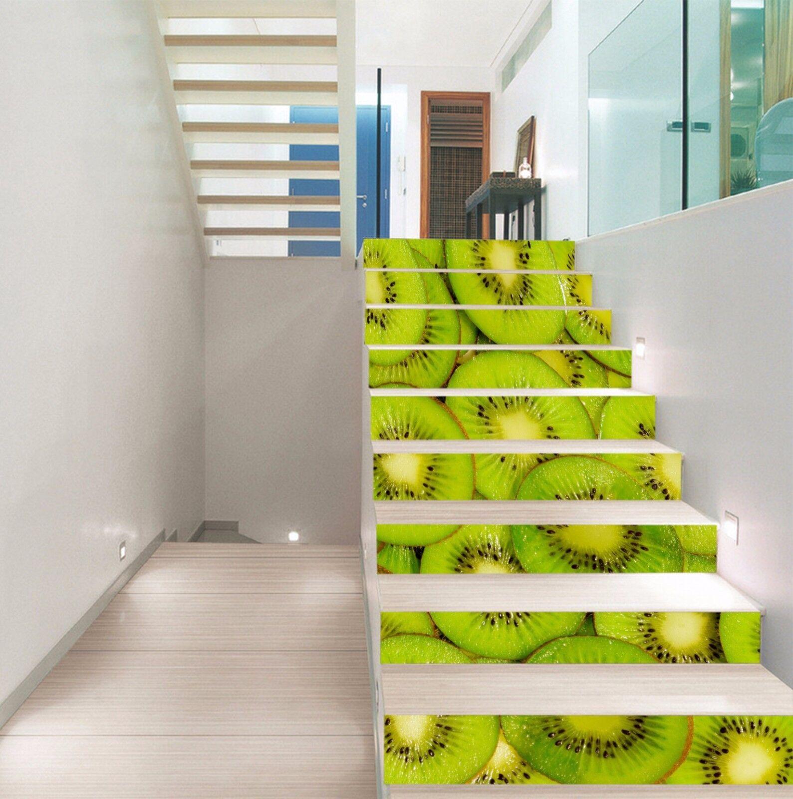 3D Grün kiwifruit4 Stair Risers Decoration Photo Mural Vinyl Decal Wallpaper UK