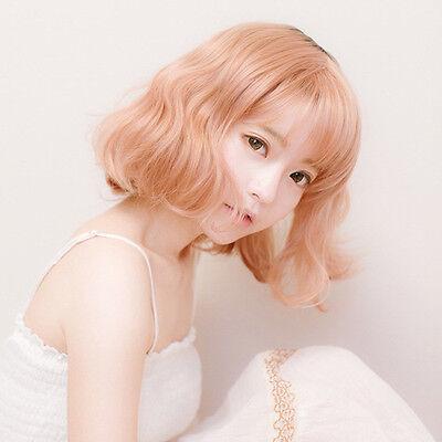 Harajuku Medium Long Curly Wavy Hair Full Wig Hair Natural Pink Gold Costume
