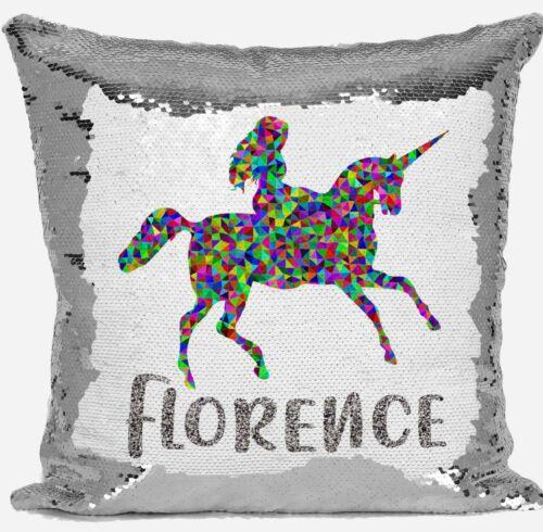Personalised Unicorn tout nom Magic révéler Argent Paillettes Housse De Coussin Cadeau 6