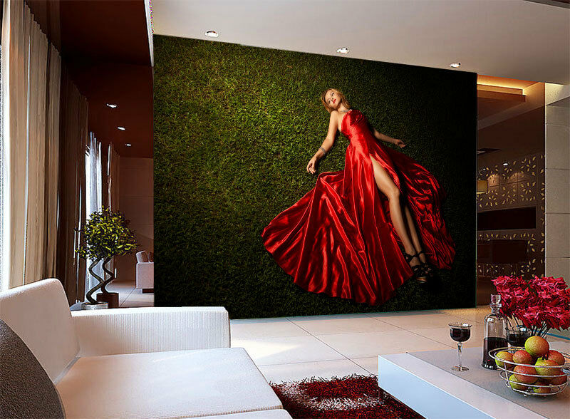 Grün Land Lady in ROT Full Wall Mural Photo Wallpaper Print Home Kids 3D Decal