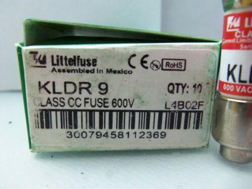 New Lot Littelfuse KLDR 9 Amp Fuses Class CC Bussmann FNQ-R-9 600 V NIB