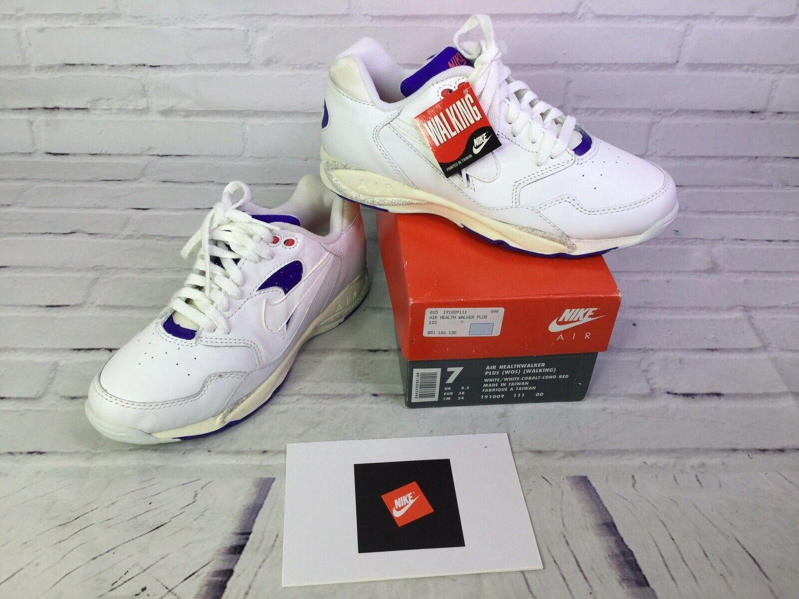 Nike Air Healthwalker Plus Walking White Cobolt Sneaker shoes Womens 7 DEAD STOCK
