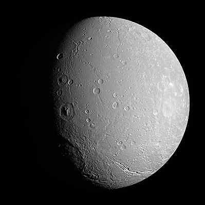 Dione Moon (Saturn IV), Solar System, Outer Space, NASA 8x10 Photo Picture