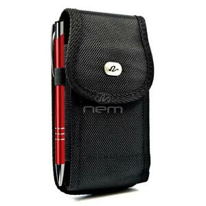 For-Samsung-Galaxy-A10-A20-A30-A50-Vertical-Holster-Nylon-Canvas-Pouch-Case-BLK
