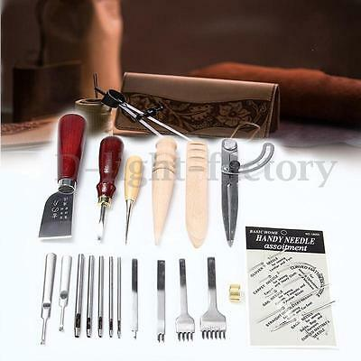 25 PCs Leather Craft Sewing Punch Tools Stitching Carving Working Saddle DIY Kit