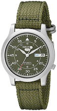 Seiko 5 Men's Automatic Watch with Green Dial Analogue Display and Green Fabric