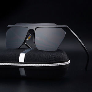 9474bb5ad179 Image is loading Mens-Retro-Oversized-Half-frame-Pilot-Sunglasses-Vintage-