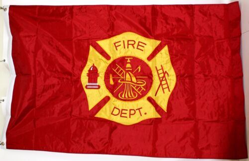 Embroidered Fire Department Flag 3/'x5/' Double Sided