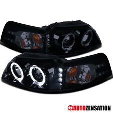 For 1999 2004 Ford Mustang Black Smoke Halo Rims Projector Headlights With Led Fits Mustang
