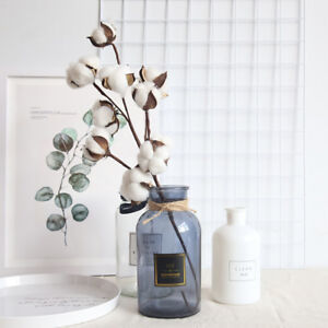 Am-1Pc-Dried-Fake-Cotton-Flower-Artificial-Plant-Floral-Branch-Stage-Home-Decor