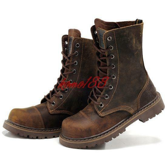 Mens Punk Leather Lace Up Motorcycle Retro Combat Military high top Boots Plus