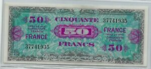 1944-WW-II-Era-France-Allied-Military-Bank-note-50-Francs