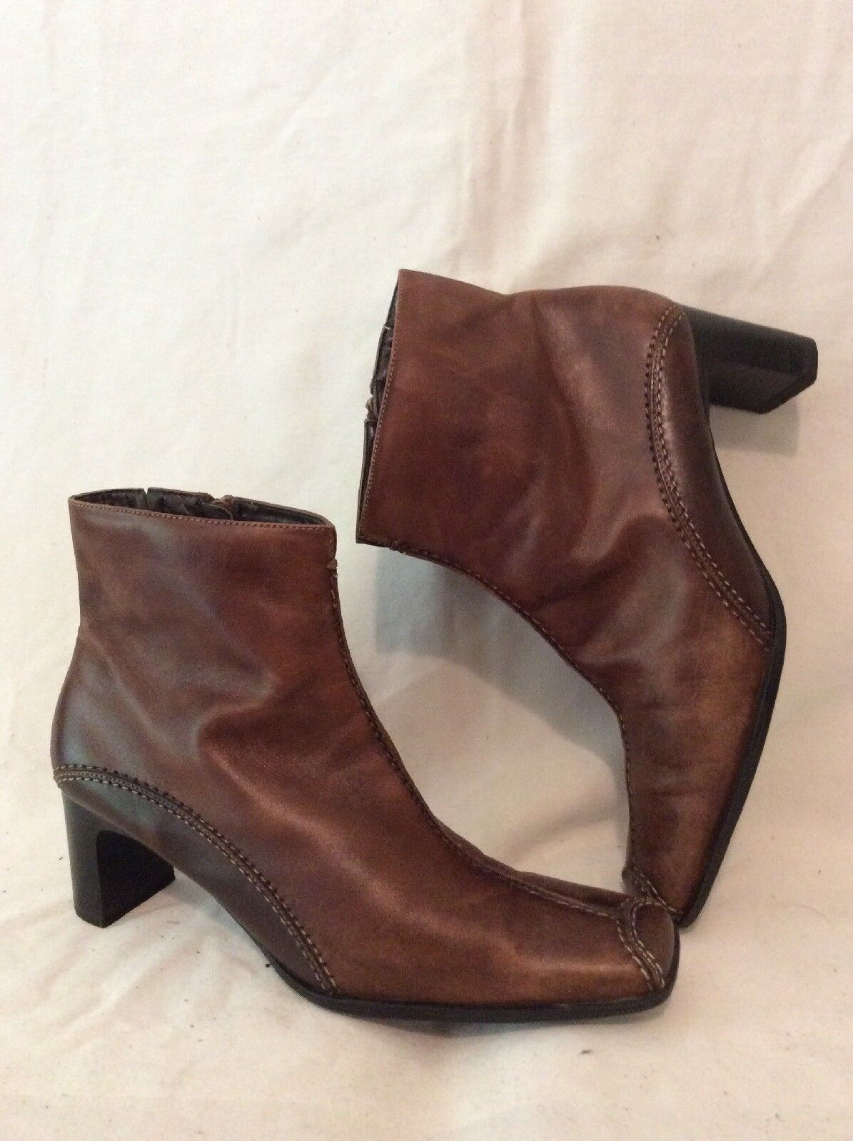Sally O'hara Brown Ankle Leather Boots Size 38