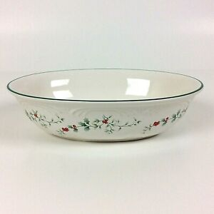 """PFALTZGRAFF Winterberry Oval Serving Bowl 10"""" Stoneware Green Holly Red Berries"""