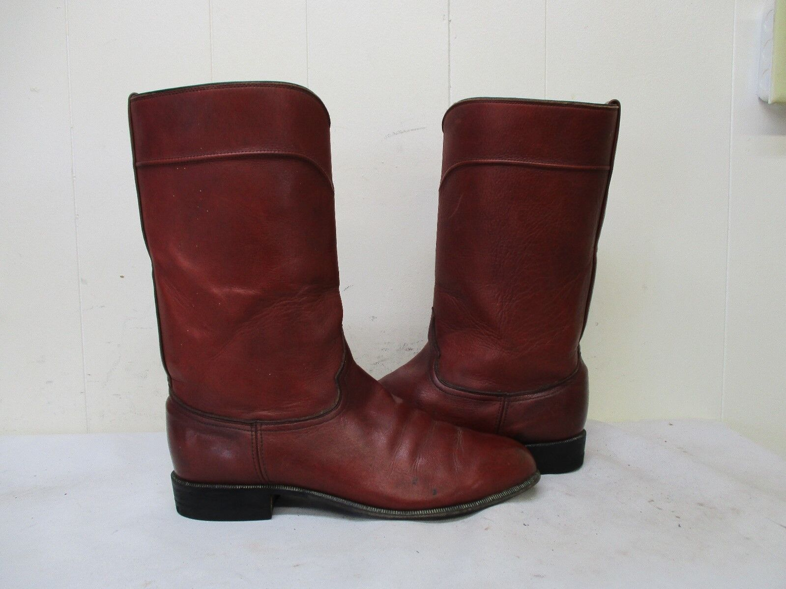 JS Justin London Tan Leather Cowboy Boots Mens Size 9.5 D Style 50005