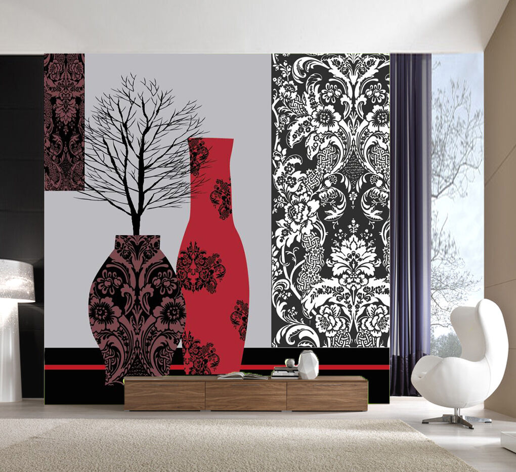 3D Pattern Red bottle Tree Wall Paper Wall Print Decal Wall AJ WALLPAPER CA