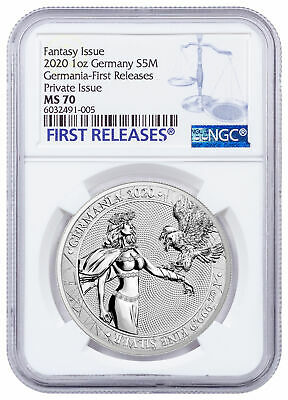 2020 Silver 5 Mark Germania 1oz NGC MS70 Early Releases CoA
