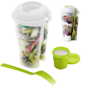 2-Pack: Home Basics 3 Piece Salad-To-Go Container Set