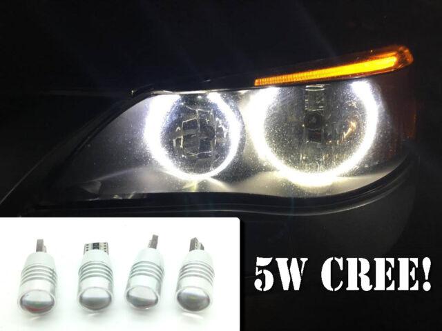 4 X Canbus Cree 501 LED Bulbs Xenon White Halo Rings Angel Eyes For BMW E60 E61