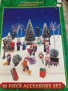 1995 Lemax Christmas Memories 24 Piece Village Accessories Set