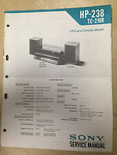Sony Service Manual for the HP-238 TC-218R Music System ~ Repair ~ Original