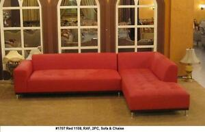 Details about Modern design Red Leather Sectional sofa + chaise + ottoman 3  pieces set #1707