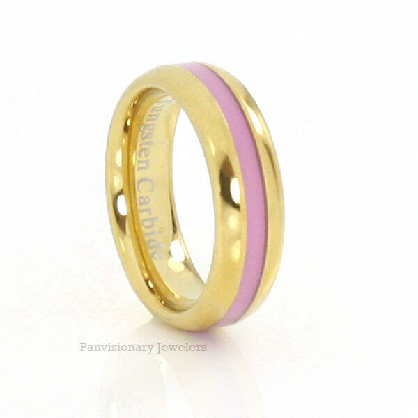 Pink Ring Gold IP 6MM Tungsten Carbide Breast Cancer Awareness Donations
