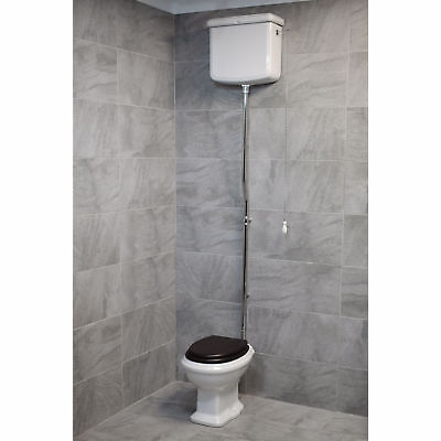 Green Hall Traditional High Level Toilet WC With Soft Close Seat Victorian
