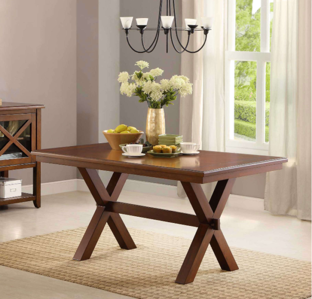 Wood Dining Table Kitchen Seats 6 Home Office Desk Brown Modern Trestle New