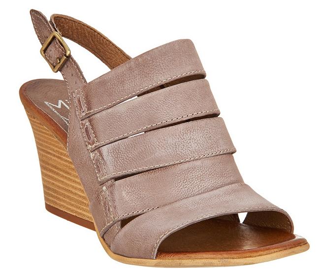 Miz Mooz Leather Slingback Wedge Sandals - Kenmare Mauve Women's EU42 US 10.5-11