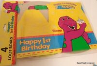 Barney Dinosaur Party Supplies Boxes Bags 4 Treats 1st First Birthday Decoration